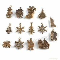 42x 141368 New Assorted Bronze Christmas Charms Alloy Pendants Jewelry Findings