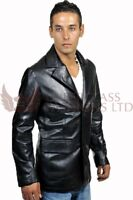 Mens Black Italian Leather Blazer Jacket