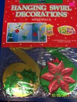 Poinsettia Holly Leaves Winter Christmas Holiday Party Hanging Swirl Decorations
