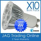 10 x 240V 4W 3*1W EDISON LED GU10 COOL WHITE DOWNLIGHT BULBS/ DOWN LIGHT GLOBES