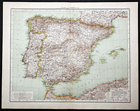 1895 Times Atlas map - Spain and Portugal - First edition