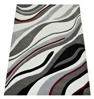 Details zu Teppich schwarz weiß gestreift 140x200 Webteppich Columbia