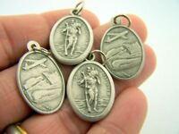 Silver Gild Set Bulk Lot 4 Catholic Charm Medal Religious Saint St. Christopher
