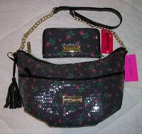 NWT Betsey Johnson Crossbody Bag & Wallet SEQUIN ROSE BUDS BLACK