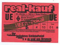 Orig.Ticket    UEFA Cup  89/90   WERDER BREMEN - AUSTRIA WIEN  !!   SELTEN