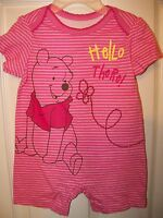 Disney Winnie The Pooh Short Romper One Piece Baby Girls Size 0 / 3 Months NWT