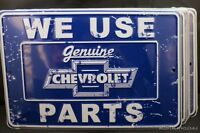 LOT OF 3 CHEVROLET SIGNS METAL TIN We Use Chevy Parts GM Made in USA Car Auto