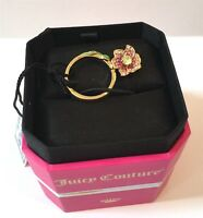 NWT NEW IN BOX JUICY COUTURE GOLD PAVE CRYSTAL TROPICAL FLOWER MINI WISH RING