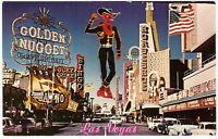 1960's FREMONT STREET Autos NEON SIGNS Casino Hotel LAS VEGAS NEVADA Postcard