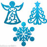 3 Blue Festive 30cm Glitter Christmas Tree Snowflake Angel Hanging Decorations