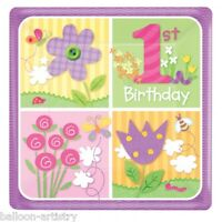 "8 Small 7"" Happy 1st Birthday Special Girl Party Disposable Square Paper Plates"