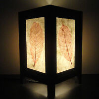 Asian Oriental Red Leaves Art Bedside Floor or Table Lamp Wood Shades Lights
