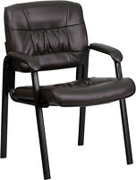 BROWN LEATHER GUEST RECEPTION WAITING ROOM OFFICE CHAIR