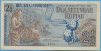 BANCONOTA INDONESIA 2 1/2  SETENGAH RUPIAH 1961 -  W.P.M. 79 - Fds