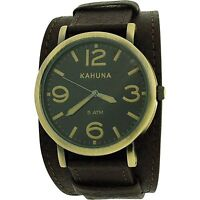 Kahuna Gents Analogue Black Dial Wide Brown Leather Cuff Strap Watch KUC-0054G
