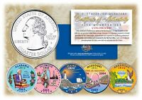 2003 COLORIZED US MINT STATE QUARTERS * Complete Set of 5 Coins * with Capsules
