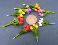 1:12 Scale Handmade Polymer Clay Dolls House Miniature Garden Tulip Flowers