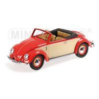 MINICHAMPS PM107054231 VW 1200 CABRIO HEBMUELLER 1949 RED/CREAM 1:18 DIE CAST