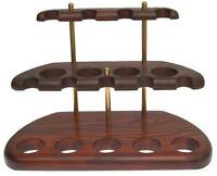 New Stand Rack Hold Case Display 100% Pear-Tree Wood for 9 Smoking Pipe/Pipes