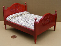 1:12 Scale Mahogany Coloured Double Bed Dolls House Miniature Bedroom DF253M