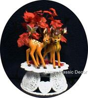 Wedding Cake Topper W/ Disney classic Bambi the Deer Fall Tree Bride groom top
