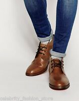 H By Hudson Tan Houghton Leather Slip On Chukka Lace Up Boots Shoes 12 46 NEW