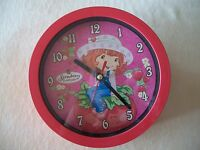 """TOO CUTE Red Strawberry Shortcake 6 1/2"""" Round Wall Clock, BRAND NEW IN BOX!!!"""