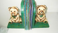 PAIR OF BEARS- WOOD HAND CARVED -HAND PAINTED-BALI- INDONESIA BOOK ENDS