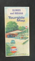 1968 Illinois Indiana road  map Gulf oil
