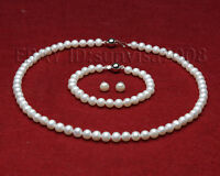 AAA sets 7-8mm white freshwater cultured pearls necklace bracelets earrings