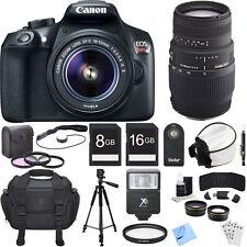 Canon EOS Rebel T6 Digital SLR Camera w/ EF-S 18-55mm + 70-300mm Lens Bundle