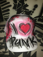 Designer AIRBRUSH Trucker mesh i love punk music rock ny graffiti hat cap mütze