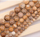 "Natural Round Picture Stone loose gemstone beads strand 15"" 6/8/10/12/14mm DIY"
