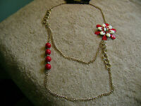 NWT- LAKE SHORE DRIVE GOLD TONE RED AND WHITE METAL/BEADED CHAIN  NECKLACE!!!