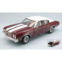 AUTO WORLD AMM1011 CHEVROLET CHEVELLE SS 1970 BURN RED/WHITE 1:18 DIE CAST MODEL