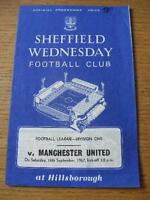 16/09/1967 Sheffield Wednesday v Manchester United  (Creased & Team Changes). No