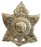 WW1 193RD NOVA SCOTIA HIGHLANDERS BADGE SOLID SILVER