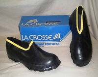 "Men's Size 7.5 LaCrosse ""Premier"" Heavy Duty Black Rubber Work Overshoes"