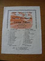 04/09/1974 Norwich City Reserves v Crystal Palace Reserves  (Single Sheet, Folde
