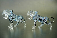 2 Tiny BABY WHITE TIGERS, Wild Animals, Cats,Colourfully Painted Glass Ornaments