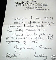 FAN CLUB Letter Autographed by all 4 BEATLES Paul McCartney John Lennon Vintage