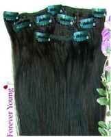 """18"""" Premium Clip in HUMAN HAIR EXTENSIONS Dark Brown #2"""