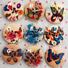 9 Zakka Floral Wood Sewing Button Flower Butterfly 3cm