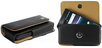Leather Horizontal Case Cover Pouch for LG Phones. +Holster Belt Clip, Black,New