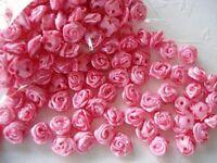 100 Mini Satin Ribbon Rose 8mm Flower/trim/doll/wedding/dress/craft/bow F18-Pink