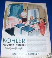 1957 Kohler Plumbing Ad Mayflower pink bathroom