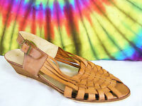 8 M vintage 80's brown woven leather slingback wedge peep-toe sandals shoes NOS