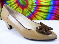 size 7 vtg 80s taupe leather bow-toe heels pumps shoes