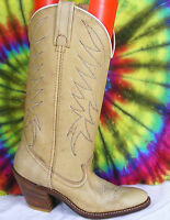 size 5.5-6 vintage 80's tan leather ACME DINGO stacked heel cowboy boots