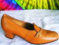 sz 6.5-7 vtg 60s dark tan leather pumps secretary shoes